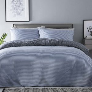 Silentnight Shirt Stripe Duvet Set - Denim