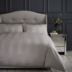 Silentnight Wide Sateen stripe Duvet Set - Champagne