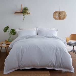 Silentnight Pinstripe Oxford Edge Duvet Set - Duck Egg