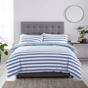 Silentnight Jersey Stripe Duvet Set - Denim