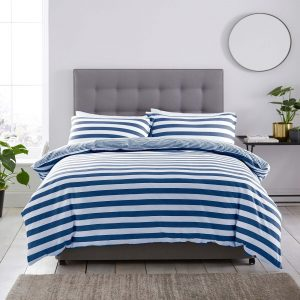 Silentnight Jersey Stripe Duvet Set - Navy