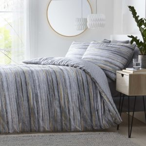 Silentnight Washed Stripe Duvet Set - Grey/Ochre
